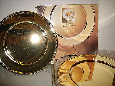 """VTG 1991 Set of 12,Solid Brass 12"""" Charger Plate Beaded Wedding Parties Holidays"""