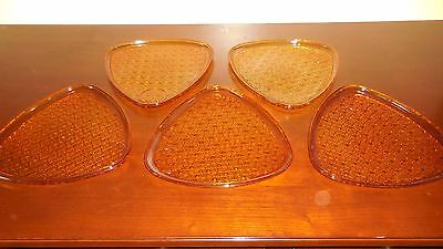 Indiana Colony Glass 5 Gold Amber Daisy & Button Snack Luncheon Plates