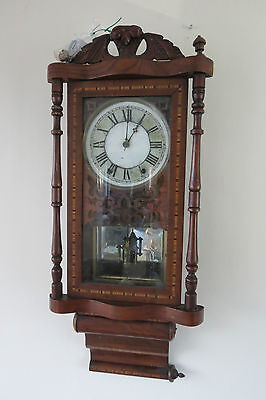 Antique American Striking Tunbridge Ware Case Wall Clock For Spares Repair