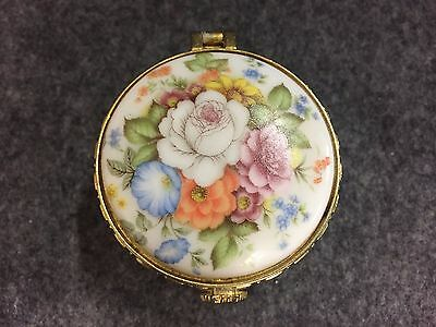 Vintage White Pill Container Porcelain Floral - Free Shipping!