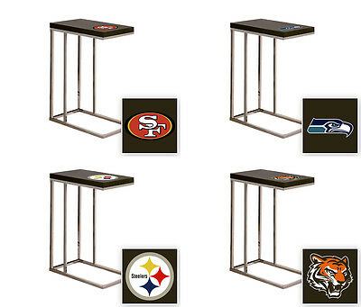 Fcr1 Nfl Black Laminate (Formica) And Chrome Slide-Under Tv Tray/end Table