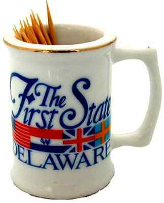 Delaware  souvenirs oothpick Holder - Delaware Flags 1st