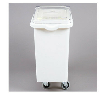 21 Gallon White Mobile Ingredient Storage Bin with Lid Commercial Restaurant