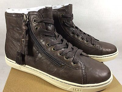 bedf24644a1 UGG AUSTRALIA BLANEY Chocolate High Top Lace Up Tassel Sneakers 1009885