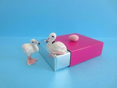 New Sitting & Standing Flamingo Chicks Figurine Pink Egg So Cute/with Pink Box
