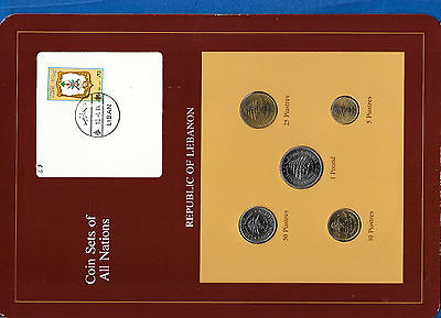 Coin Sets of All Nations Lebanon UNC 1975-1981 50 Piastres 1978 1 Livre 81