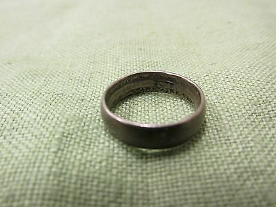 Vintage WWII Australian Schilling Silver Coin Trench Art Wedding Band Ring Sz 4