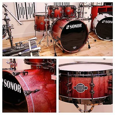 Sonor Ascent Stage 2 Drum Kit With Hardware, Black Red Diamond Lacquer