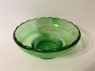 E O Brody Co Cleveland Ohio M 2000 Green Glass Candy Side Dish Scalloped Edge
