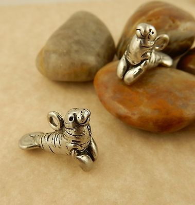 2 Antiqued pewter 3D Manatee charm