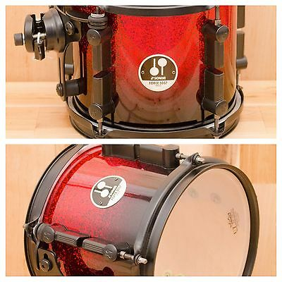 SONOR 8 x 7 FORCE 3007 TOM SPECIAL EDITION BLACK TO RED SPARKLE / BLACK FITTINGS