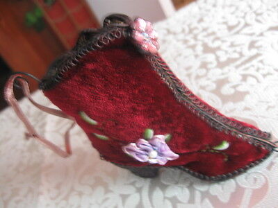 """Victorian 4"""" Red Velvet Shoe Boot Ornament  Flowers Stitching Lacy Metal Accents"""