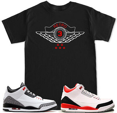 ff12ee355bf69a Retro 3 Red T Shirt to match with Air Jordan Retro 3 White Black Cement  Shoes