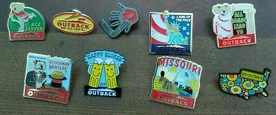 OUTBACK Steakhouse Pins Lapel LOT Of 9 MISSOURI, ACE SERVER, HAPPY BLOKES...