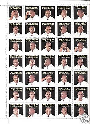 """Charles Barkley. Sheet Of """"35"""" Stamps. """"35"""" Different Poses. """"referee Murders"""""""