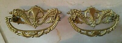 Pair Antique Ornate Decorative Brass Drawer Handles Pulls Knobs Cabinet Art Deco