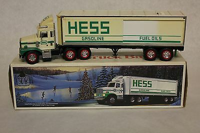 Vintage 1987 Hess Truck Bank Toy White Semi with 3 Oil Barrels Discolored