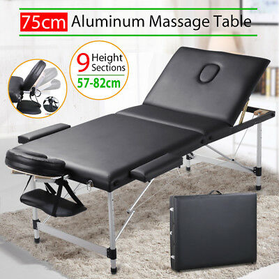 75cm Portable Aluminium Massage Table 3 Fold White Bed Beauty Therapy Black