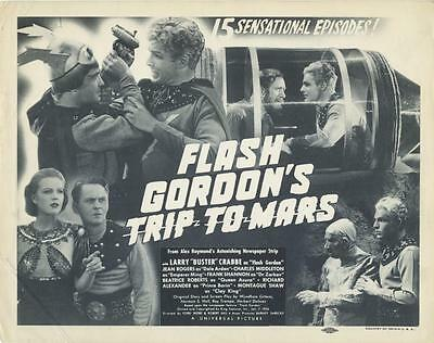 FLASH GORDON'S Trip to Mars SCI FI Title Lobby Card SERIAL Buster Crabbe 1940s