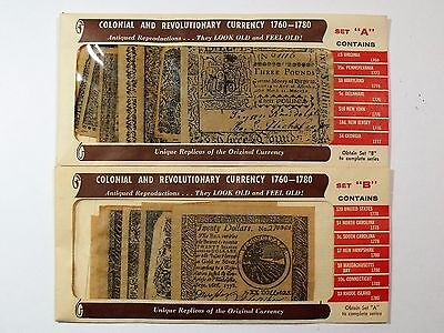 Colonial & Revolutionary Currency 1760 -1781 Antiqued Reproductions Sets A & B
