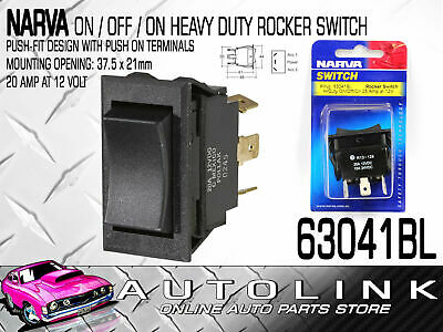 Narva 63041Bl On Off On Heavy Duty Rocker Switch Push Fit Spdt 20 Amp 12 Volt
