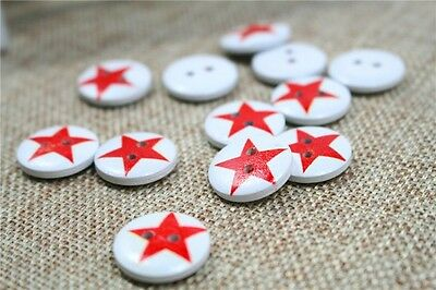 "143 Lot of 10 FLORAL STAR 2-hole White Wood Button 11//16/"" 17mm Scrapbook Craft"