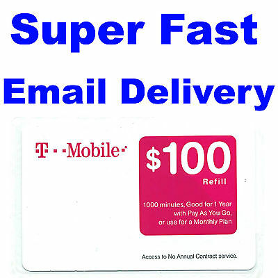 T-MOBILE $100 PREPAID REFILL CARD, New Unscratched, Fast email delivery TMobile