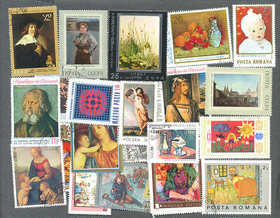 Paintings 300 all different stamps collection-Art-Artists