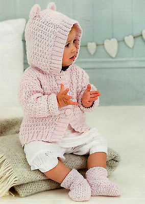 Knitting Pattern- Childs Hooded Jacket with ears in DK- fits from Birth up to 5y