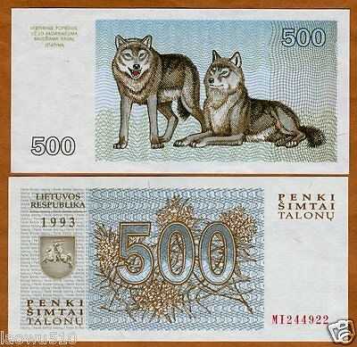 Lithuania Lietuvos 500 Talonas 1993  P-46 Unc Banknote European Currency Wolves