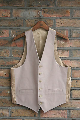 VTG 70s CHECKED BROWN GREY REVERSIBLE EVENING WAISTCOAT VEST COUNTRY SIZE 38
