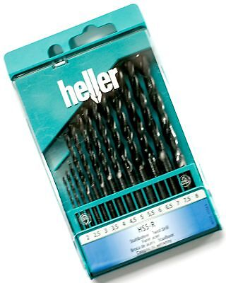 Drill Bit Set HELLER 13pc 2mm 8mm HSS R German made quality steel  wood plastic