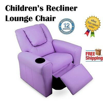 Children's Recliner Lounge Chair PU Leather Comfort Adjustable Kids Seat Sofa