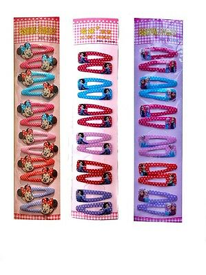 12 x NEW Girls Clips Kids Hair Clips Snap Clips 6 Designs 2 sizes