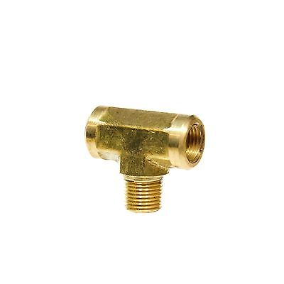 "1/8"" NPT Brass Female Male Center Branch Tee Fitting Fuel, Air, Water, Oil, Gas"
