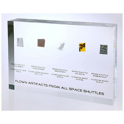 Space Shuttles flown artifacts acrylic - all five Shuttles