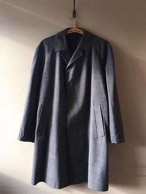 True Vintage Men's Check Tweed Plaid Wool Over Coat 46 48 L- XL