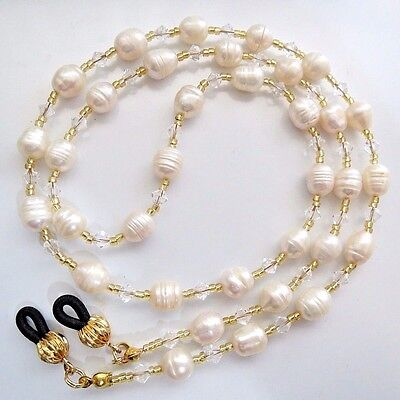Genuine Pearl Eyeglass Reading Glasses Holder Cord Leash Strap Lanyard Necklace