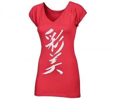 New Asics Women AY S/S Kanji Tee Red Fitness Top Size Small 320821 T-Shirt