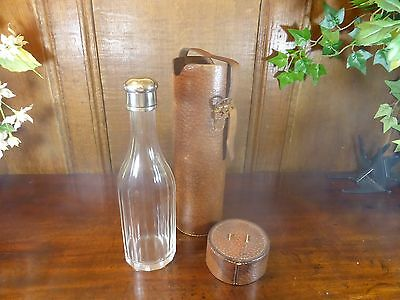 LEATHER CASED cut glass 12 SIDED DRINKS HIP FLASK/BOTTLE - SCREW TOP 24.5CMS