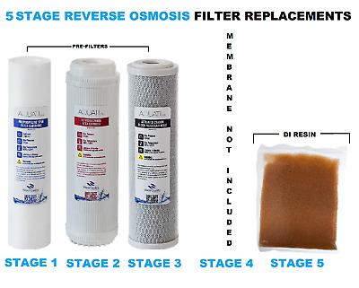 Replacement 5 Stage Reverse Osmosis System Pre Filters & DI Resin 4 PCS Aquati