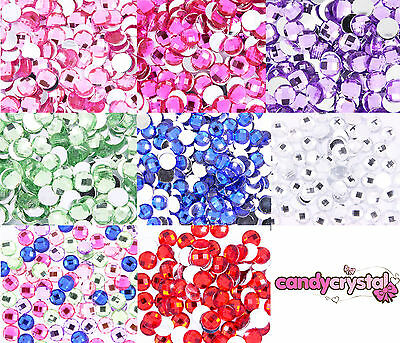 50 x GRAND Dos Plat Acrylique Facettes Strass Embellissements - 8, 10, 12, 14mm