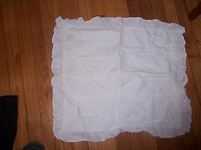 antique pair of ruffled pleated white pillow shams w original porcelain buttons