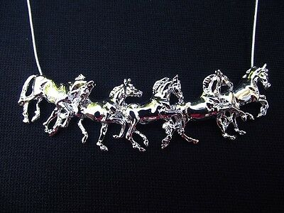 HORSE JEWELRY Five running horses necklace.  Classic Forge Hill Sculpture design