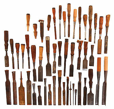 Collection of Assorted Chisels and Gouges - Some Corner Type - Some Need Hdls.