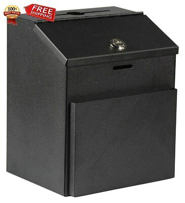 Adir Wall Mountable Steel Suggestion Box with Lock - Donation Box - Collection B