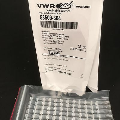 0.2ml PCR Strip tubes with attached caps EXP 2020 - Box of 960 VWR 732-0545