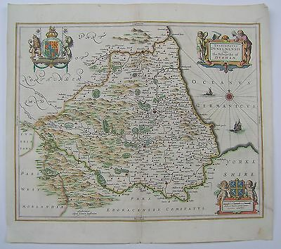 Durham: antique map by Jan Jansson, 1646 (1st edition)
