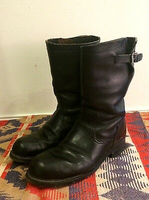 Vintage 50s Black Leather Nylon Cord Sole Mens 10 E Engineer Motorcycle Boots