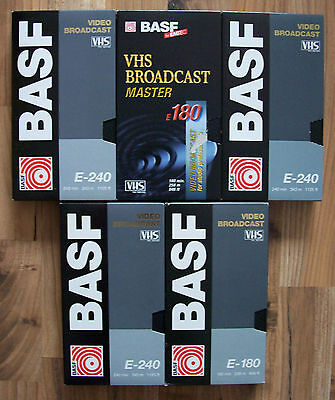 5 BASF E-180 / E-240 VIDEO BROADCAST VHS Video-Kassetten Professionelle Cassette